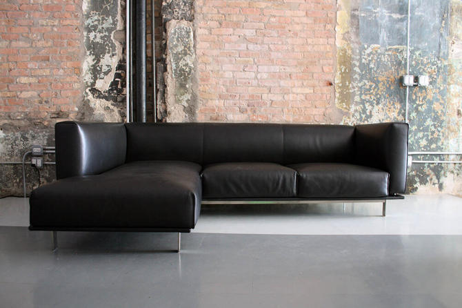Leather and Steel Sectional Sofa by Matthew Hilton