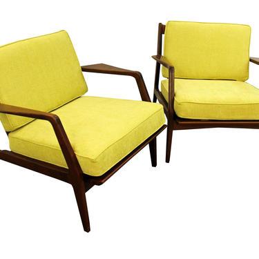 Pair of Mid-Century Danish Finn Juhl Style Open Arm Citron Walnut Lounge Chairs by AnnexMarketplace