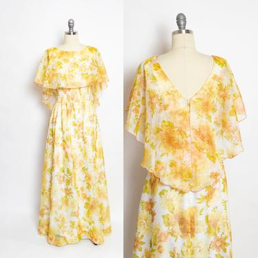 1970s Dress Chiffon Floral Cape Maxi Boho Gown 70s Small S by dejavintageboutique
