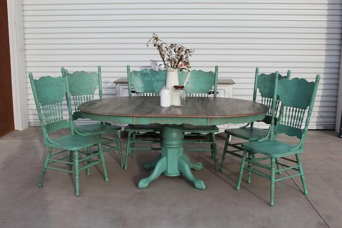 Vintage 7pc Dining Set – Blue Green with Aged Finish