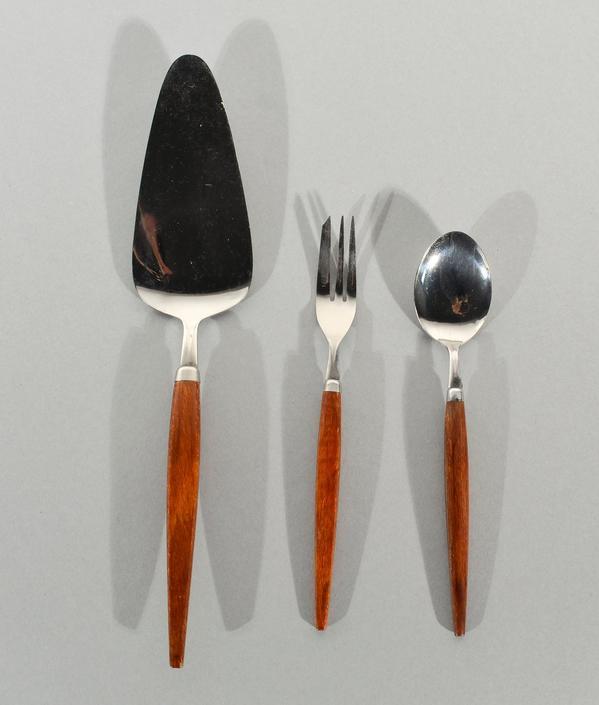 Stainless Flatware Teak Handles Holland Desert Set Danish Modern by HearthsideHome