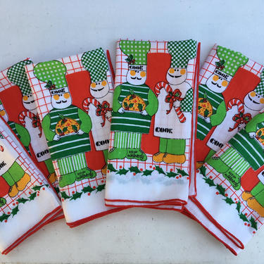 70's Christmas Napkins Set Of 6, Two Cooks By Waverly, Foodie Christmas Cloth Napkins, Christmas Chef by luckduck
