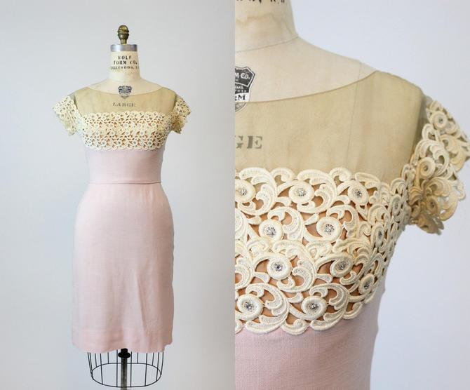 1950s Peggy Hunt dress   linen lace illusion neckline   medium by CrushVintage