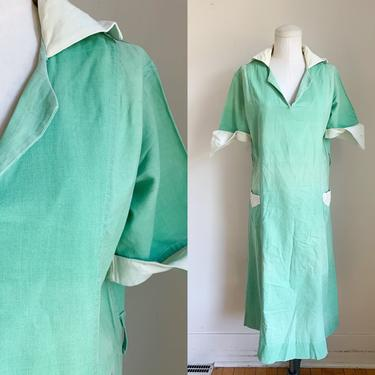 Vintage 1920s Mint Green Waitress Uniform Dress / M/L by MsTips