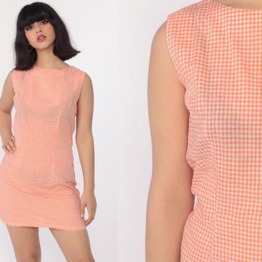 Orange Gingham Dress 70s Mini Dress Sheath Checkered Print White 60s Shift Sleeveless Plaid Vintage MiniDress Summer Small by ShopExile