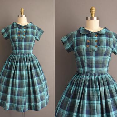 1950s vintage dress   Adorable Blue Turquoise Short Sleeve Plaid Print Full Skirt Summer Shirt Dress   Small   50s dress by simplicityisbliss