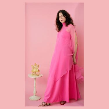 vintage 70s hot pink maxi dress with sheer cape by FlowerInTheMirror