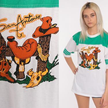 San Antonio Tshirt Cowboy Shirt Boot Southwest Shirt Graphic Tshirt Ringer T Shirt 90s Tshirt 80s Western Travel Southwestern Texas Large xl by ShopExile