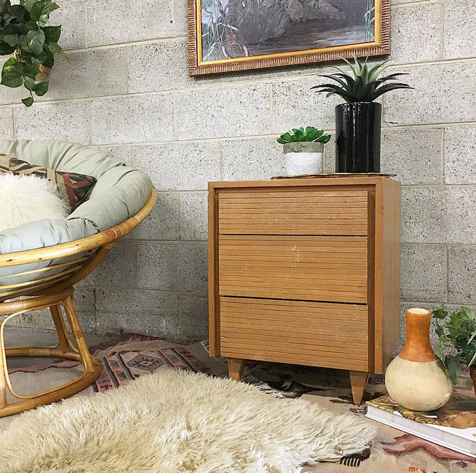 LOCAL PICKUP ONLY Vintage Nightstand Retro 1960's Mid-Century Modern 3 Drawer End Table with Carved Wood Drawers and Pointed Legs by RetrospectVintage215