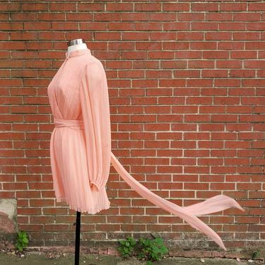 70s Vintage Pink Chiffon Dress w/ Bishop Sleeve by Anthony Muto, 1970s Goddess Dress Pleated Sheer Chiffon by SlimeWarpVintage