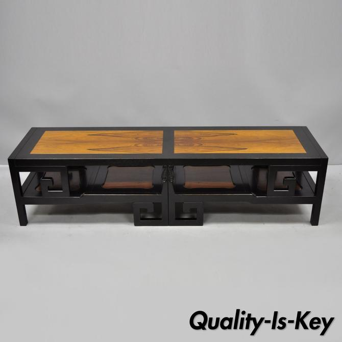 Michael Taylor for Baker Rosewood & Black Greek Key Asian Long Coffee Table