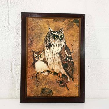 True Vintage Owl Print Richard Hinger Screech 70s Art Large Plaque Brown Wood 1970s Kitsch Retro Decor Print Lithograph Litho Boho Bohemian by CheckEngineVintage