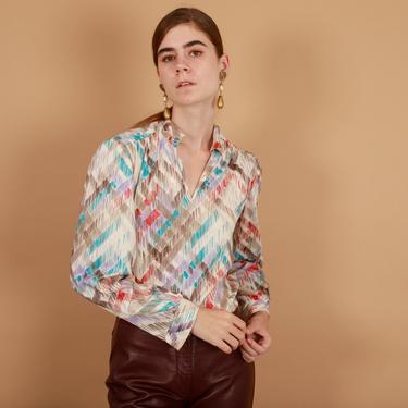 70s Beige Brushstroke Novelty Print Blouse Vintage Long Sleeve Knit Top by AppleBranchesVintage
