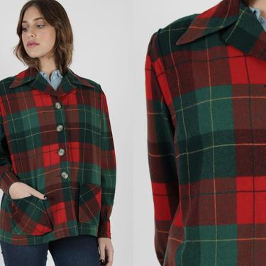 50s Pendleton 49er Jacket / Green Red Wool Buffalo Plaid / Vintage 1950s Farm Chore Jacket / Womens Holiday Christmas Rockabilly Coat by americanarchive