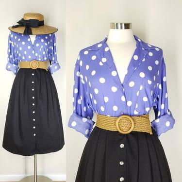 1990s Purple Polka Dot Blouse, Medium ~ Lavender Button Up Blouse ~ Soft Rayon White Polka Dot Collared Shirt ~ Retro Periwinkle Blue Top by SoughtClothier