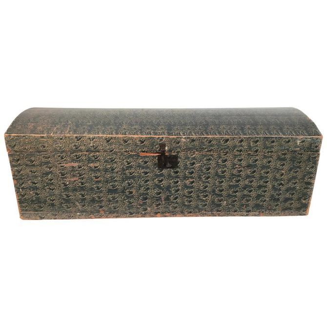 American Folk Art Blue Painted Dome Top Blanket Chest