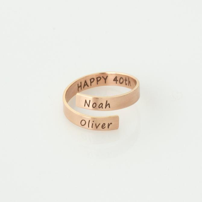 Personalized Name Ring, Custom Anniversary Date Ring, Silver Mom Ring with Initials, Personalized Ring, Birthday Gift For Her, 14k Gold Fill by LEILAjewelryshop