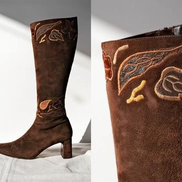 Vintage 90s HAYRAUD PARIS Brown Suede Square Toe Side Zip Boots w/ Leather Leaf Embroidery   Size 39.5   1990s Designer Square Toe Boots by TheVault1969