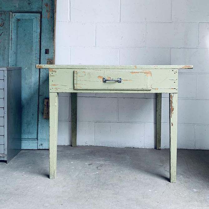 Small Farm Table | Green Farm Table | Green Dining Table | Green Desk | Wood Kitchen Table | Wood Desk by PiccadillyPrairie