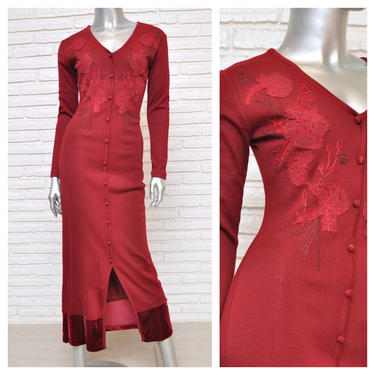 Vintage Burgundy Maroon Sweater Dress Carole Little Long Sleeve Knit Fitted Maxi Dress with Floral Embroidered Design S by TheUnapologeticSoul