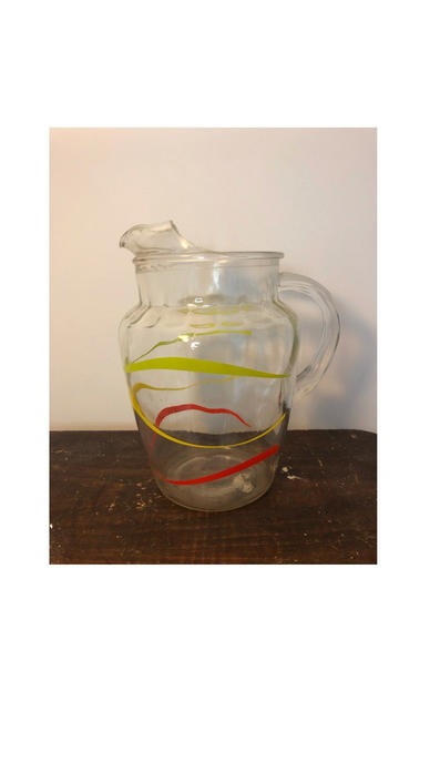 Vintage Anchor Hocking Pitcher, Stripe Green, Red, and Yellow Design by BlackcurrantPreserve