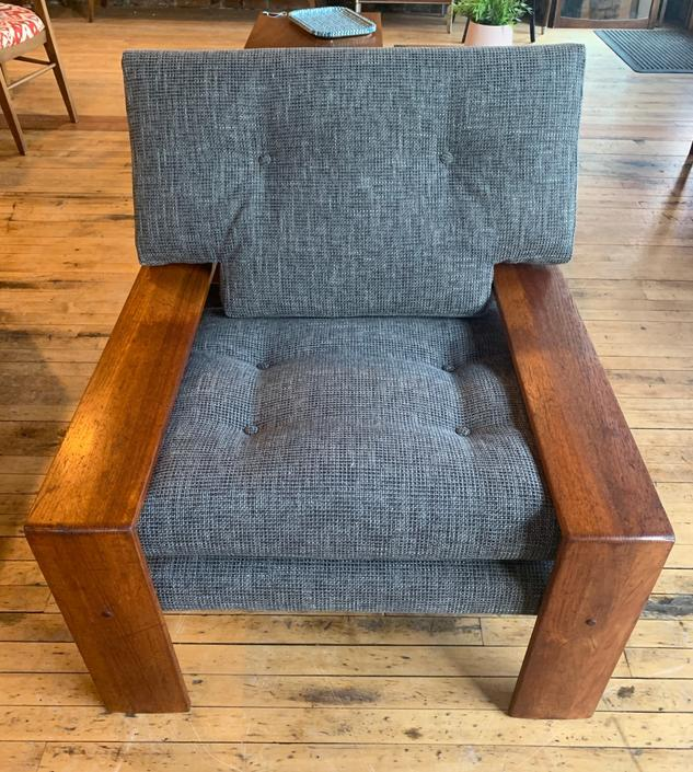 Vintage Wood Frame Chair w/ New Upholstery