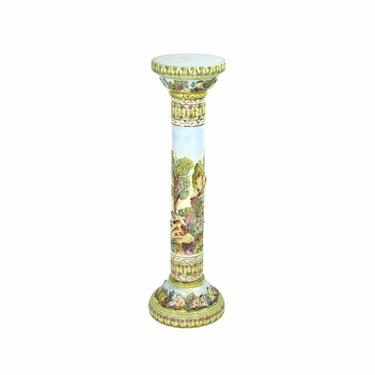 Vintage Italian Capodiomonte Porcelain Pedestal Plant Stand Cherubs and Nudes by PrairielandArt