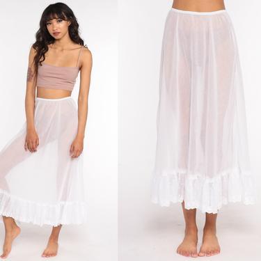 Sheer White Skirt 70s Peasant Skirt Hippie Skirt Floral Embroidered Midi Slip 1970s Boho Cotton Bohemian Cottagecore Vintage Small Medium by ShopExile