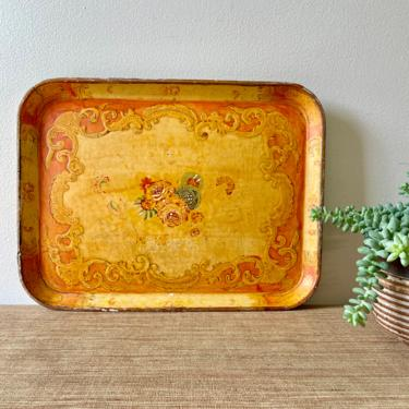 Vintage Tray - Paper Mache Tray - Orange Floral Tray - Rectangular Hand Painted Tray - Wall Decor - Made in Japan by SoulfulVintage