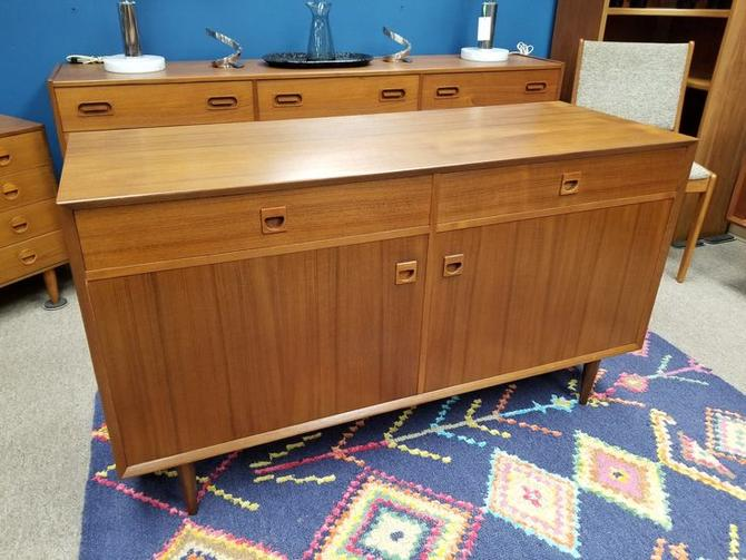 Danish Modern teak credenza with doors and upper drawers