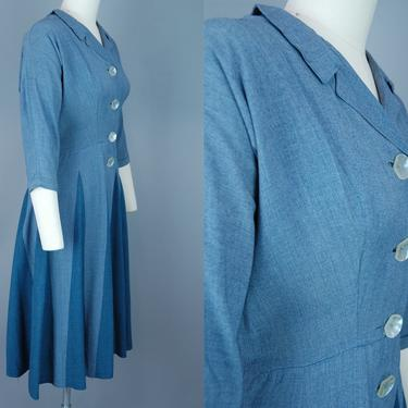 1950s Two Tone Dress   Vintage 50s Shirtwaist Day Dress with Contrast Panel Skirt   small by RelicVintageSF