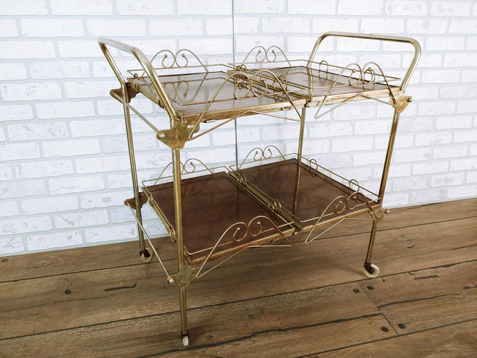 Rolling Folding Mid Century Bar Cart Faux Wood and Brass with a Removable Serving Trays by RedsRustyRelics