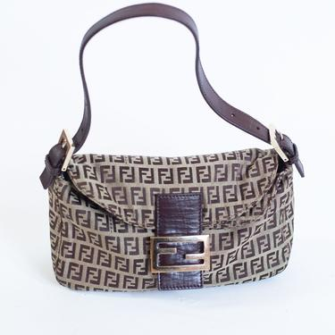 FENDI Vintage Zucchino Double Flap Brown Baguette Canvas + Leather Shoulder Bag Monogram FF Zucca Logo Silver Hardware Small Shoulder by backroomclothing