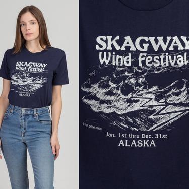 80s Skagway Alaska Wind Festival Tee - Small to Medium   Vintage Navy Blue Funny Tourist T Shirt by FlyingAppleVintage