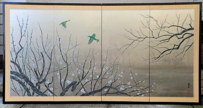 Vintage Hand-Painted Byobu Japanese Folding Screen