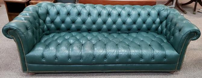 Item #MN1 Vintage Teal Leather Chesterfield Sofa