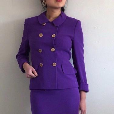 90s Louis Feraud wool double breasted suit / vintage purple wool cropped collared blazer + mini skirt matching set suit | S by RecapVintageStudio