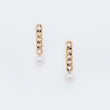 Freshwater Pearl Curb Chain Drop Earrings