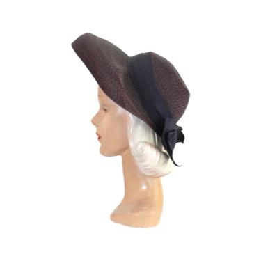 1940s Navy Blue Sun Hat - 1940s Navy Blue Hat - 1940s Navy Straw Hat - Vintage Sun Hat - 40s Sun Bonnet - 40s Straw Hat - 40s Navy Blue Hat by VeraciousVintageCo