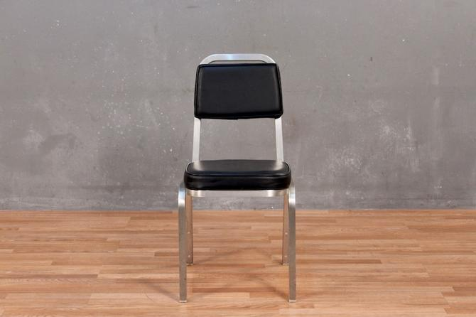 Simple Industrial Aluminum & Vinyl Side Chair