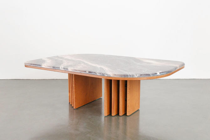 Stone and Teak Coffee Table by HomesteadSeattle