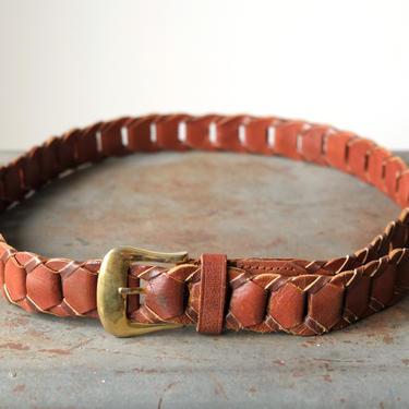 Vintage Leather Woven Links Belt by circlethesquare