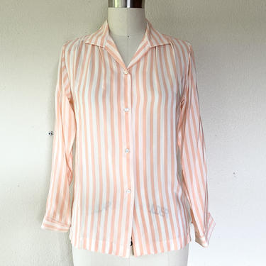 1980s Peach and white silk blouse by VelvetGoldmineShop
