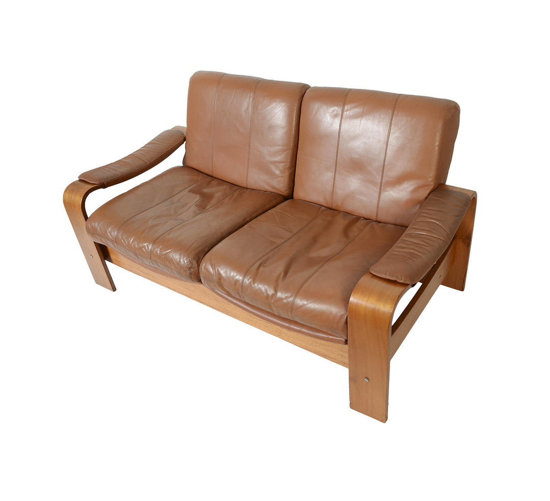 Leather Sofa Leather Love Seat Bentwood Danish Modern Mid