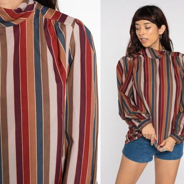 Striped Secretary Shirt Puff Sleeve Blouse Earth Tones Blouse Mock Neck Long Sleeve Top 80s Bow Neck Top Vintage Shirt Brown Rust Large by ShopExile