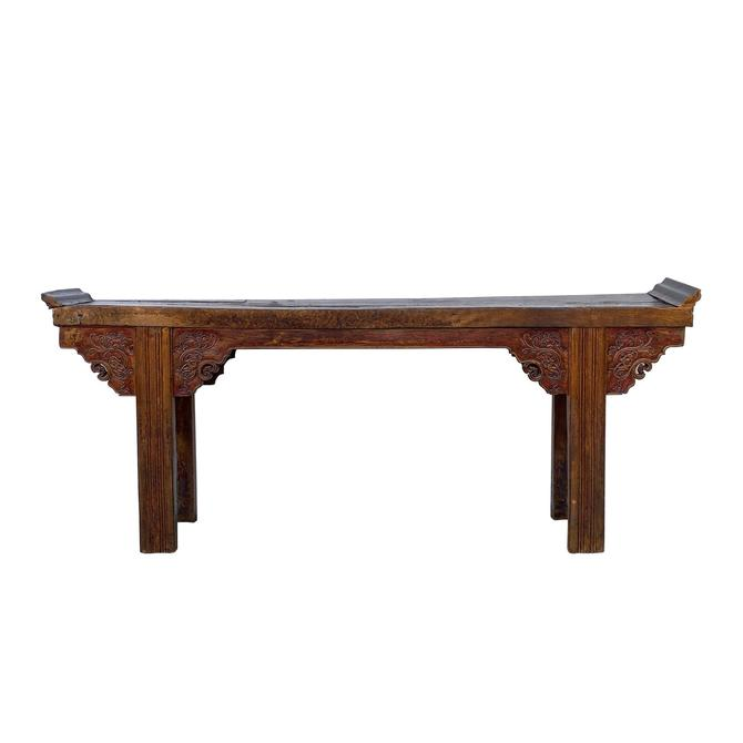 Chinese Rustic Brown Vintage Ru Yi Wood Side Altar Console Table cs5969E by GoldenLotusAntiques