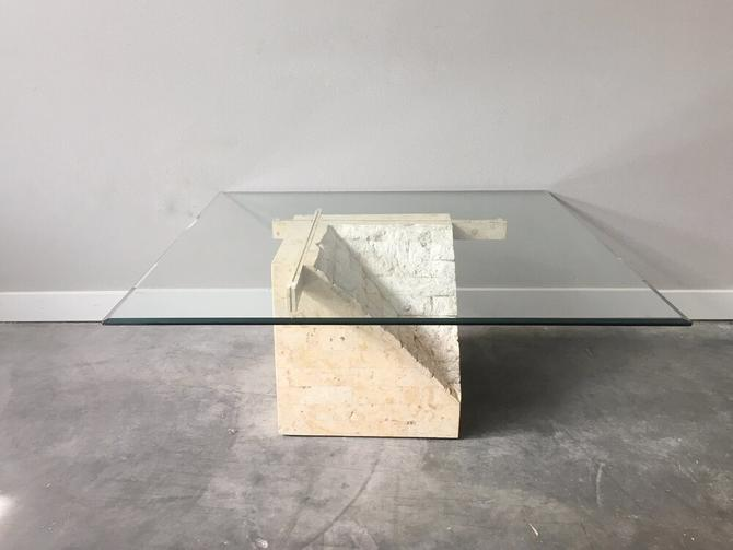 vintage white tessellated stone coffee table