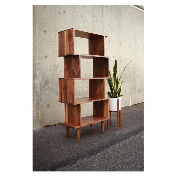 "OFFSTACK Bookcase, 5-Tier 56""H, Mid-Century Modern, Bookshelf, Solid Wood (Shown in Walnut) by TomfooleryWood"