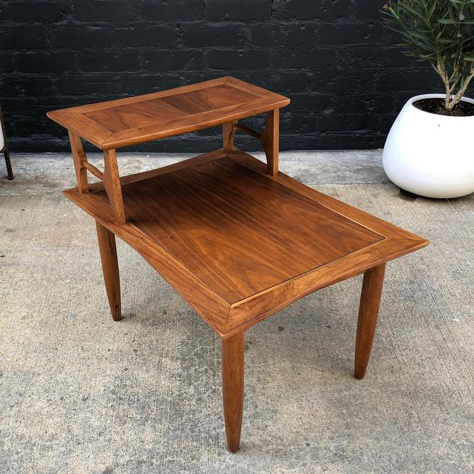 Mid-Century Modern Walnut Two-Tier Side / End Table by VintageSupplyLA