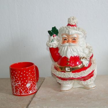 "Spaghetti Trim Jolly Santa Planter ~ Lg 10.5"" tall, Vintage 1950s NAPCO Japan Santa Claus Figure / Planter ceramic w Spaghetti Trim w Label by YesterdayAndTomorrow"